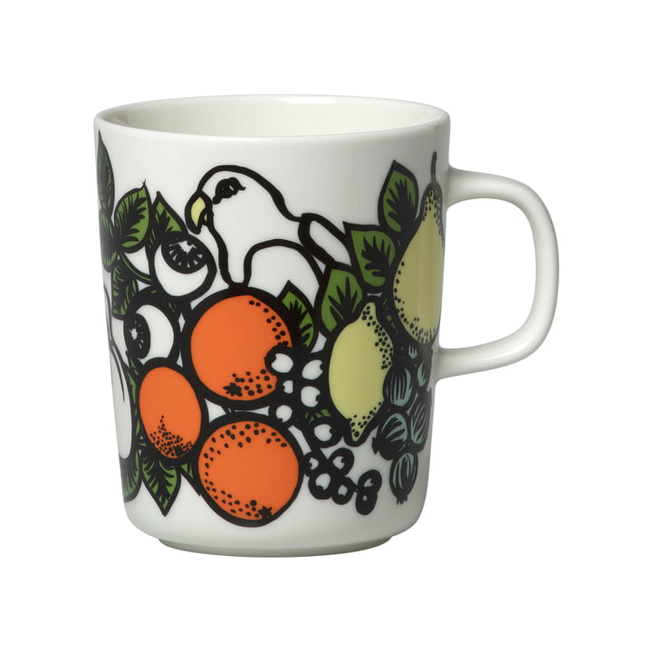 Pala Taivasta Cup with handle 250 ml from Marimekko in white / green / orange / yellow