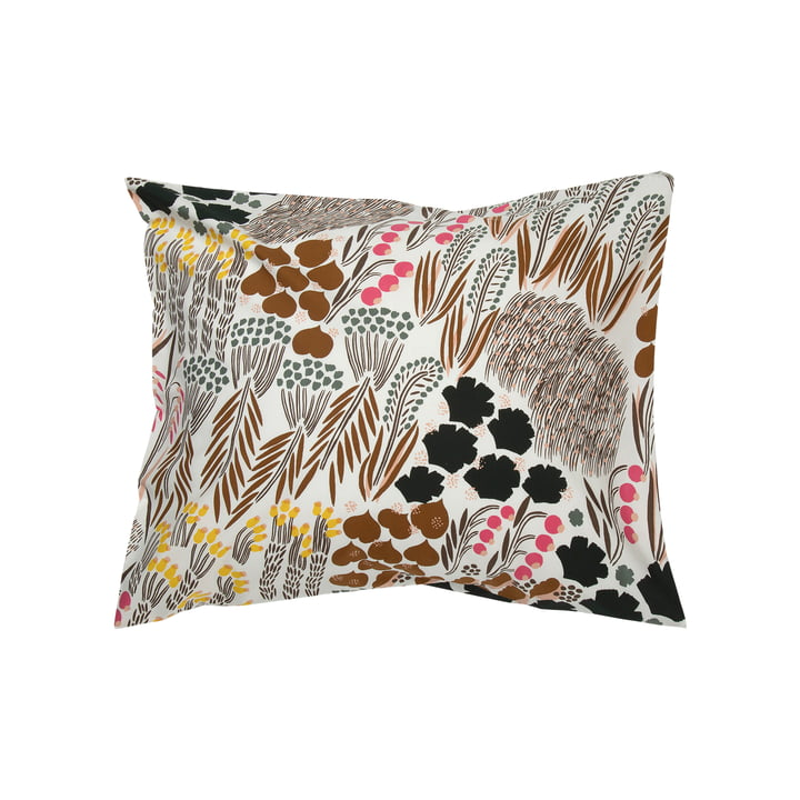Pieni Letto pillow case 50 x 60 cm from Marimekko in off-white / brown / green