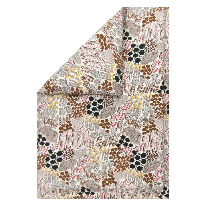Pieni Letto blanket cover 240 x 220 cm from Marimekko in off-white / brown / green