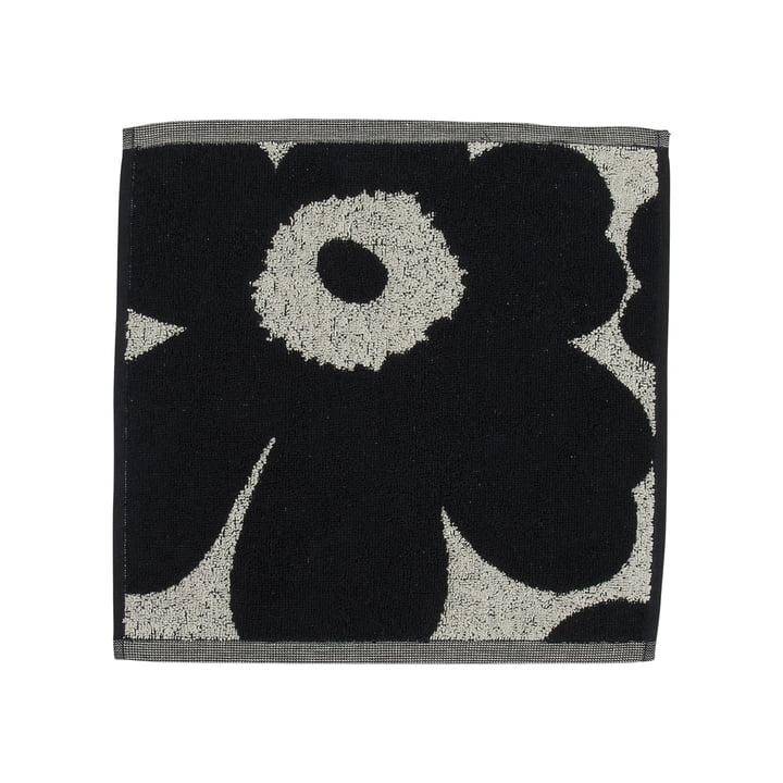 Unikko Jacquard mini towel 30 x 30 cm from Marimekko in cotton white / dark blue