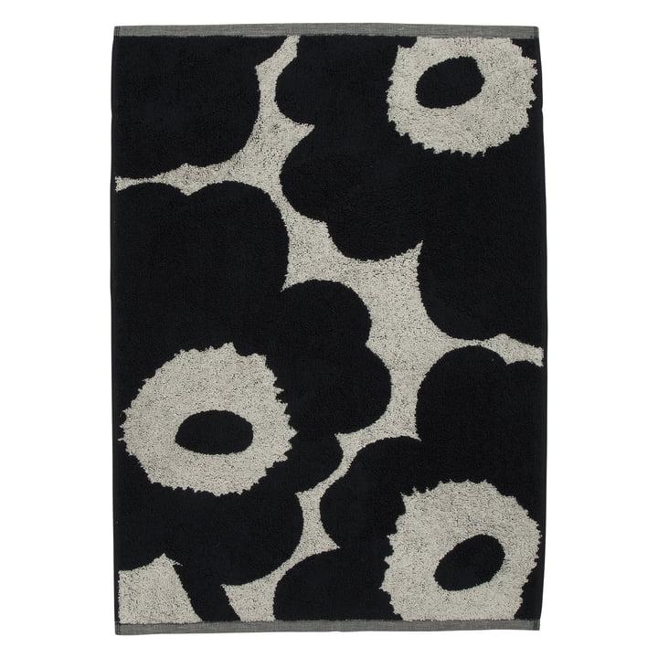 Unikko Towel 50 x 70 cm from Marimekko in cotton white / dark blue