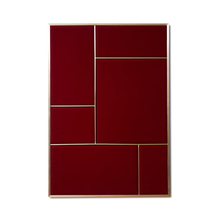 Nouveau Pinboard L, 89 x 62.3 cm, brass / rouge noir from Please wait to be seated