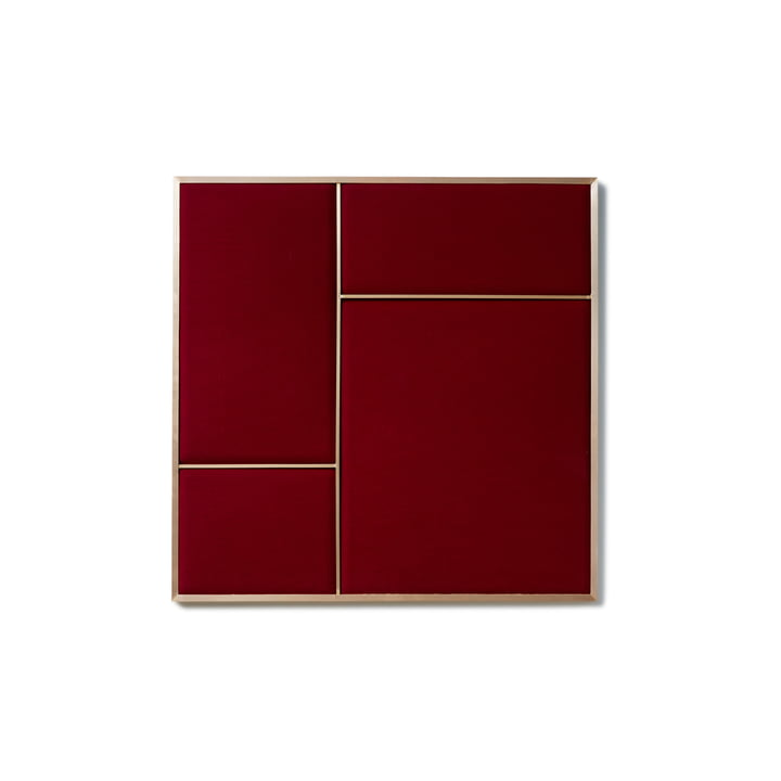 Nouveau Pinboard M, 62.3 x 62.3 cm, brass / rouge noir from Please wait to be seated