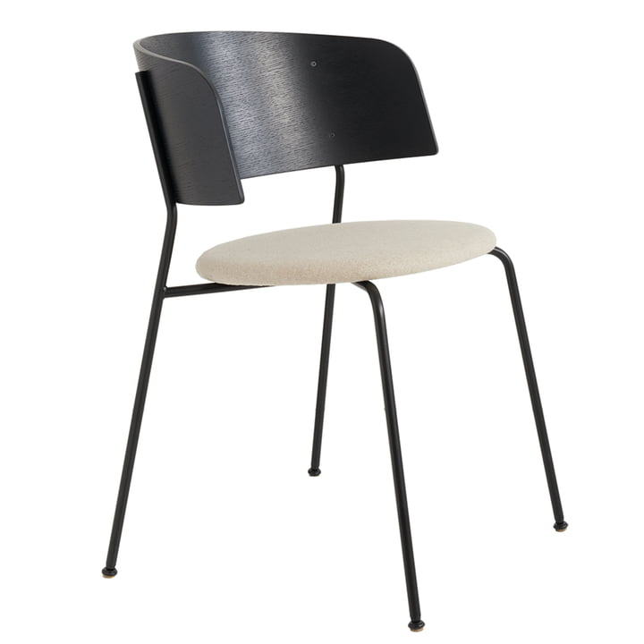 Wagner Armchair from Objekte unserer Tage in black lacquered oak / Mainline Flax MLF20 beige