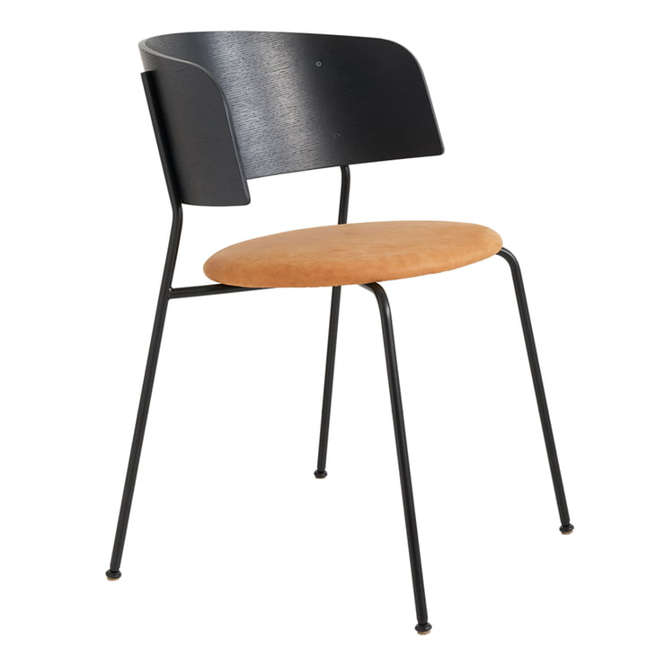 Wagner Armchair from Objekte unserer Tage in black lacquered oak / leather Dunes cognac
