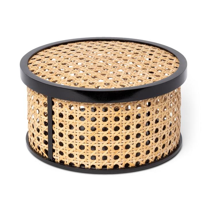 Kanne Storage box round, wickerwork / black by Doiy
