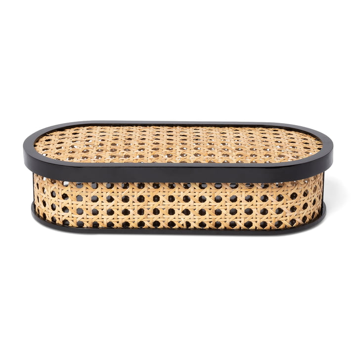 Kanne Storage box oval, wickerwork / black from Doiy