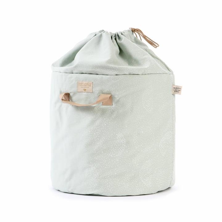 Bamboo storage basket, Ø 35 x H 50 cm, white bubble / aqua by Nobodinoz