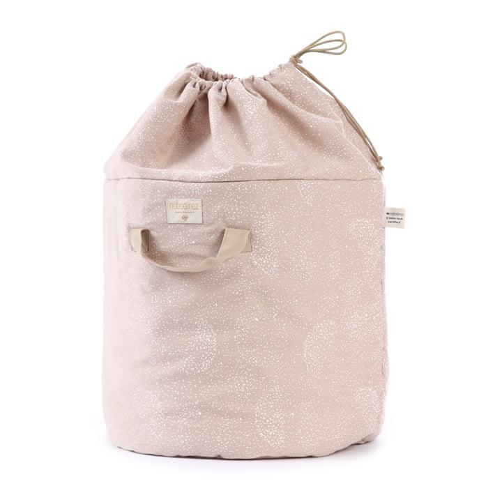 Bamboo storage basket, Ø 35 x H 50 cm, white bubble / misty pink by Nobodinoz