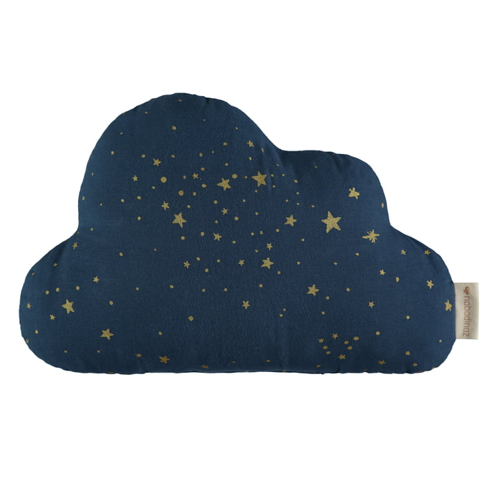 Cloud pillow, 24 x 38 cm, gold stella / midnight blue by Nobodinoz