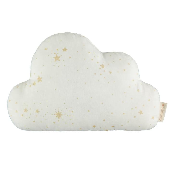Cloud pillow, 24 x 38 cm, gold stella / white by Nobodinoz