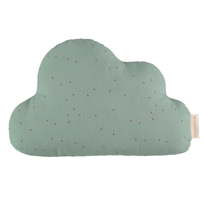 Cloud pillow, 24 x 38 cm, toffee sweet dots / eden green by Nobodinoz