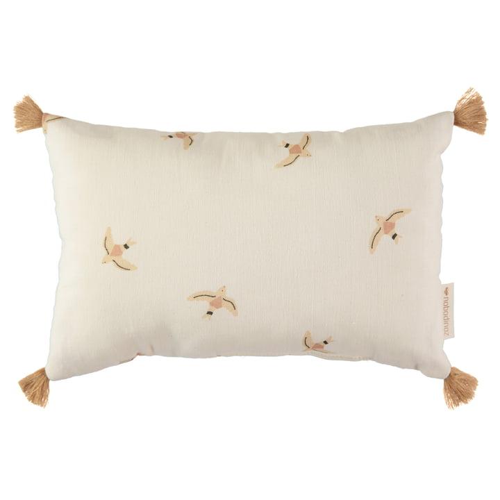 Sublim cushion, 20 x 35 cm, nude haiku birds / natural by Nobodinoz