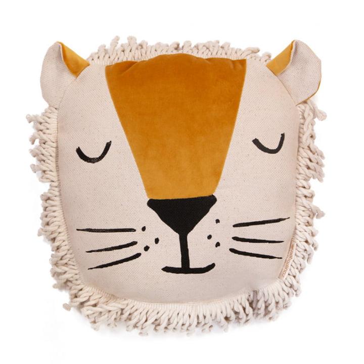Lion cushion, 32 x 35 cm, farniente yellow by Nobodinoz
