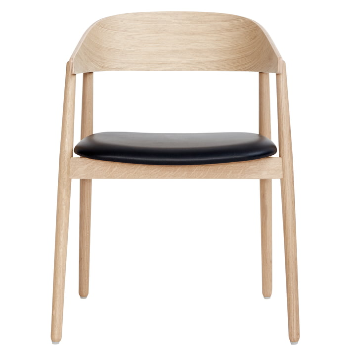AC2 chair by Andersen Furniture in white pigmented oak / black leather