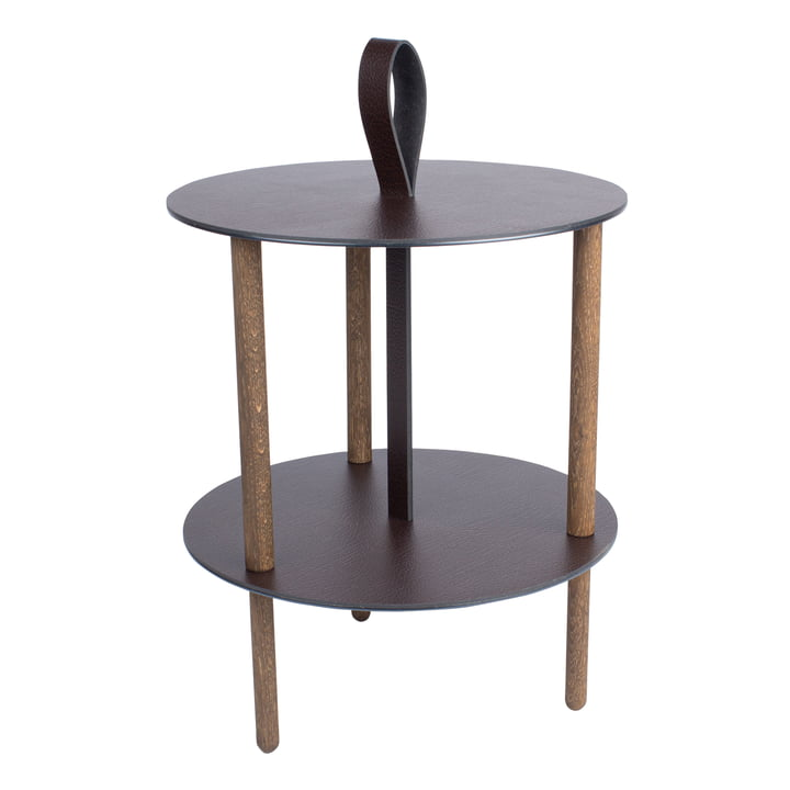Strap side table, Ø 38 x H 46 cm, smoked oak / Bull brown from LindDNA