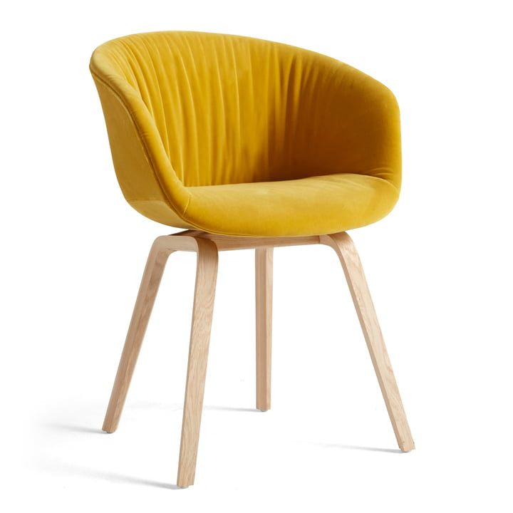 About A Chair AAC 23 Soft from Hay in the variant oak matt lacquered / fully upholstered Lola yellow