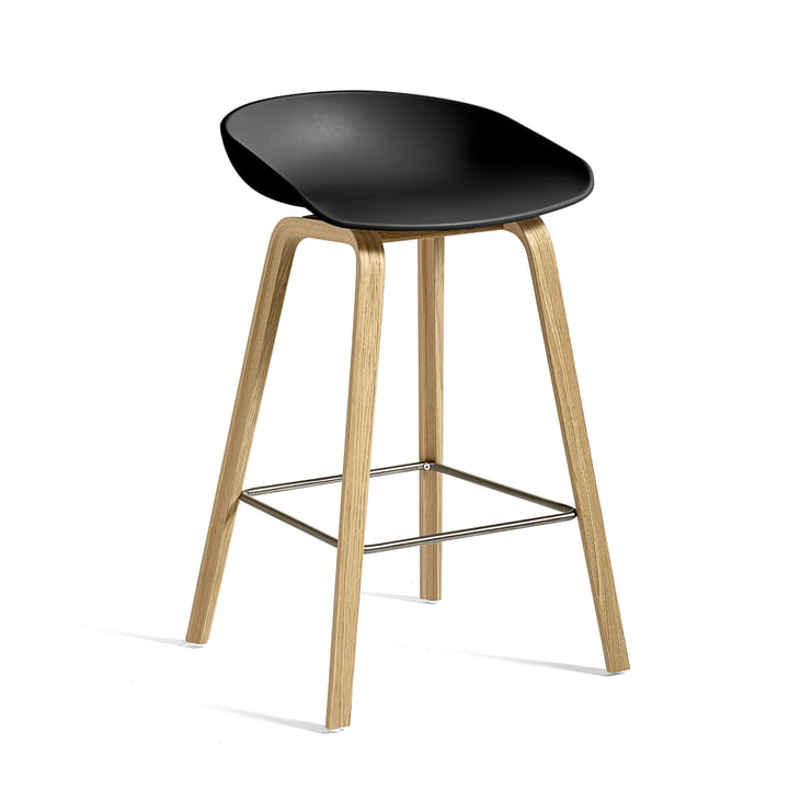 About A Stool AAS 32 ECO from Hay with 75 cm height in oak / black
