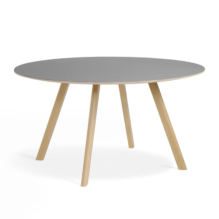 Copenhague CPH25 Table of Hay 140 cm diameter in matt lacquered oak / linoleum grey