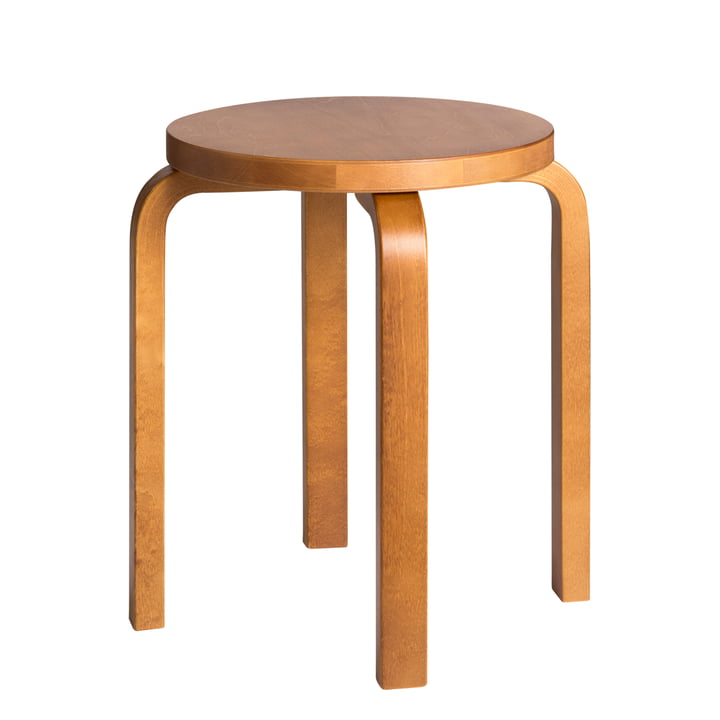 E60 stool by Artek in honey-stained birch