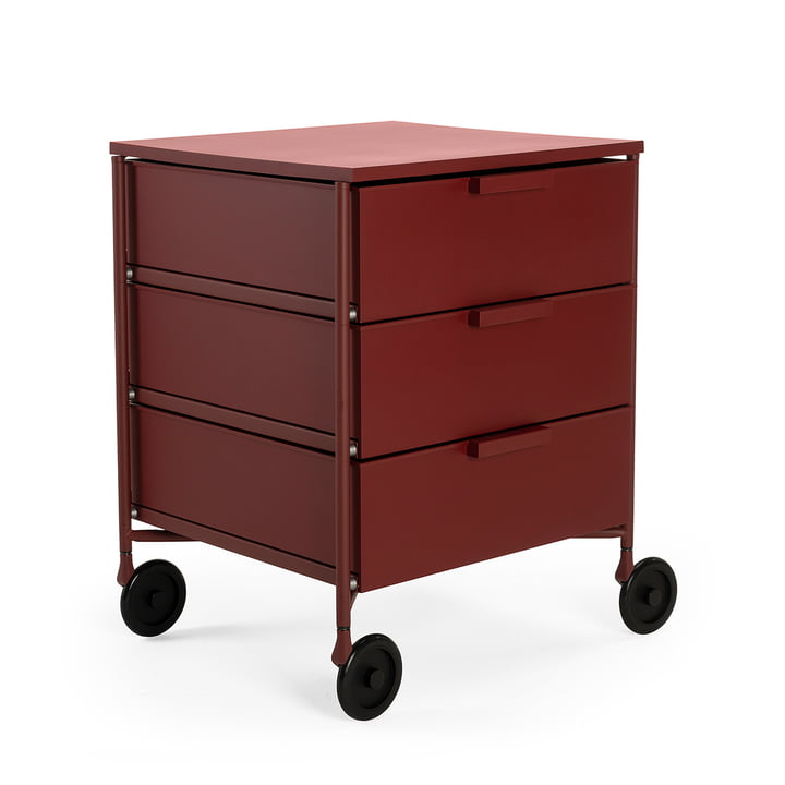 Mobil container with castors, 3 drawers, plum matt by Kartell