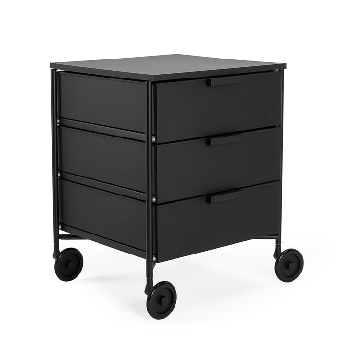 Mobil container with castors, 3 drawers, black matt by Kartell