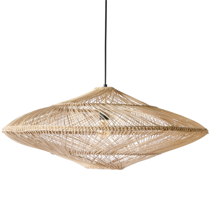 Wicker pendant lamp oval Ø 80 cm by HKliving in natural