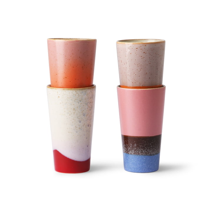 70's Milk coffee mug 0,28 l (4 pcs.) from HKliving in multicoloured