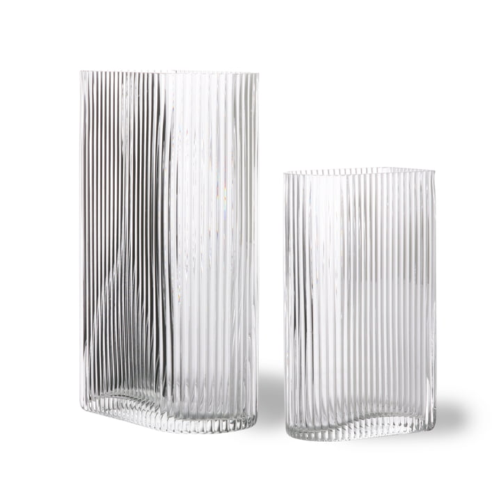 Ribbed glass vase, clear (set of 2) by HKliving
