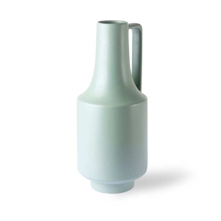 Vase with handle, Ø 19 x H 41 cm, mint green by HKliving