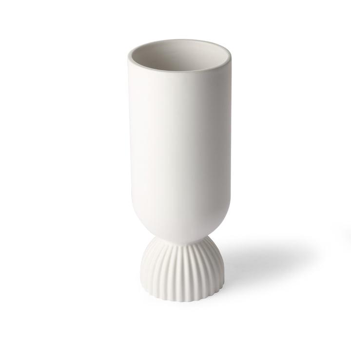 Ribbed vase, Ø 11 x H 25 cm, white by HKliving