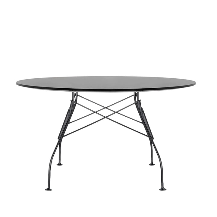 Glossy outdoor table Ø 128 x H 72 cm by Kartell in black
