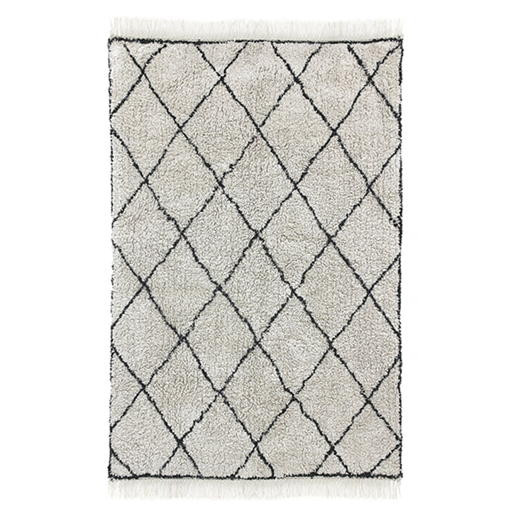 Diamond carpet 120 x 180 cm by HKliving in white / black