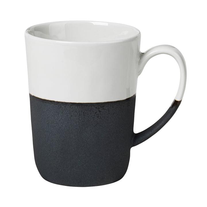 Esrum mug with handle, 35 cl, glossy ivory / matt gray by Broste Copenhagen