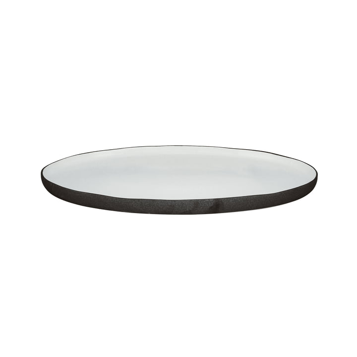 Esrum serving plate oval S, 30 x 20.5 cm, ivory glossy / gray matt by Broste Copenhagen