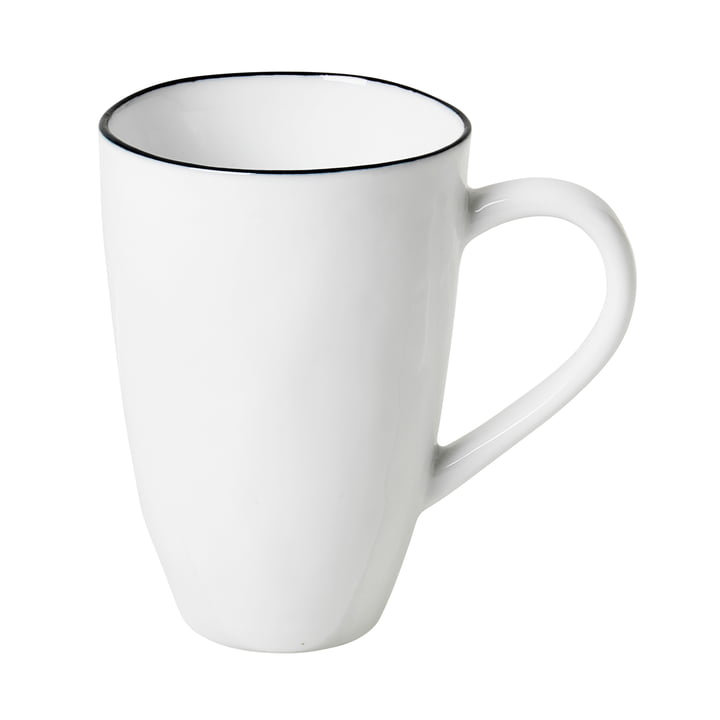 Salt mug with handle, 30 cl, white / black from Broste Copenhagen