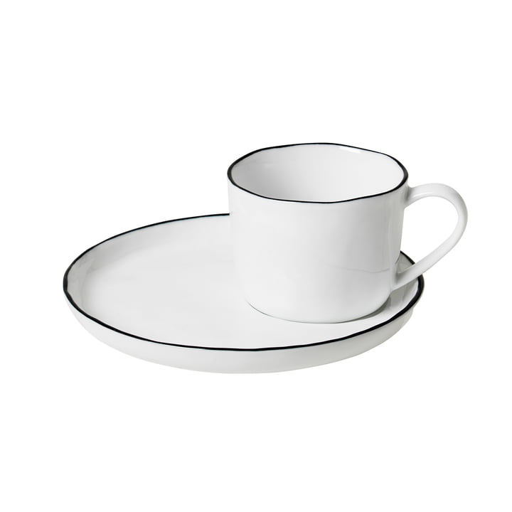 Salt cup and saucer S, 10 cl, white / black from Broste Copenhagen