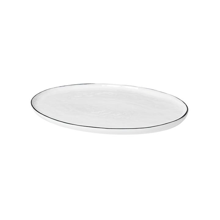 Salt serving plate oval, 30 x 20 cm, white / black from Broste Copenhagen