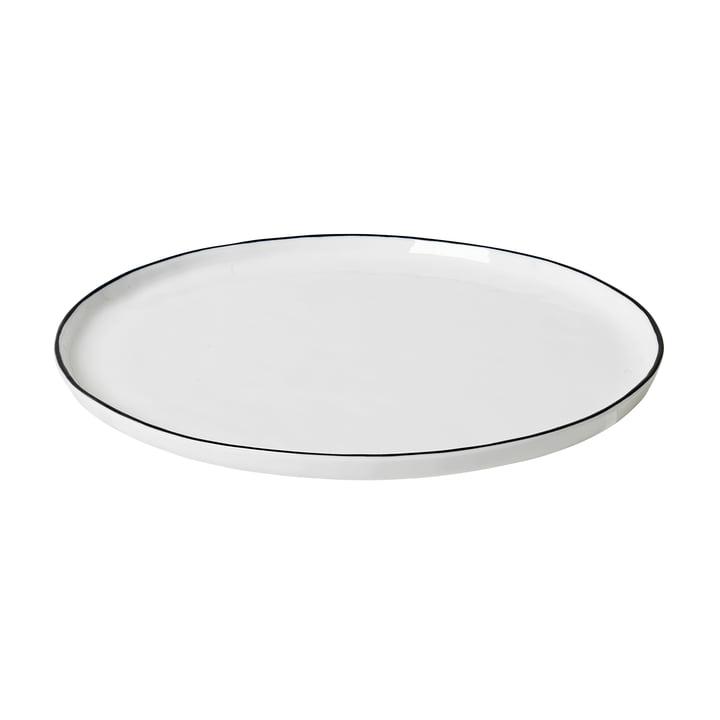 Salt dinner plate Ø 28 cm, white / black from Broste Copenhagen