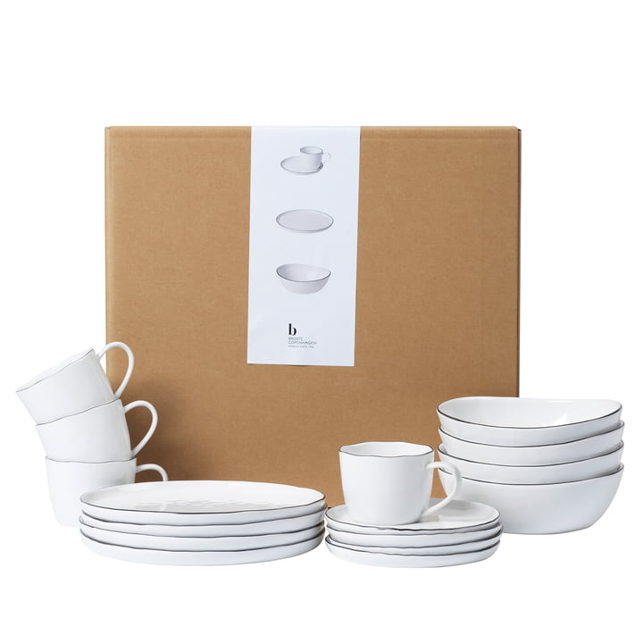 Salt tableware breakfast set, white / black from Broste Copenhagen