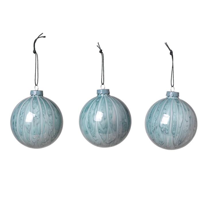 Marble Christmas tree balls, pastel blue (set of 3) from Broste Copenhagen
