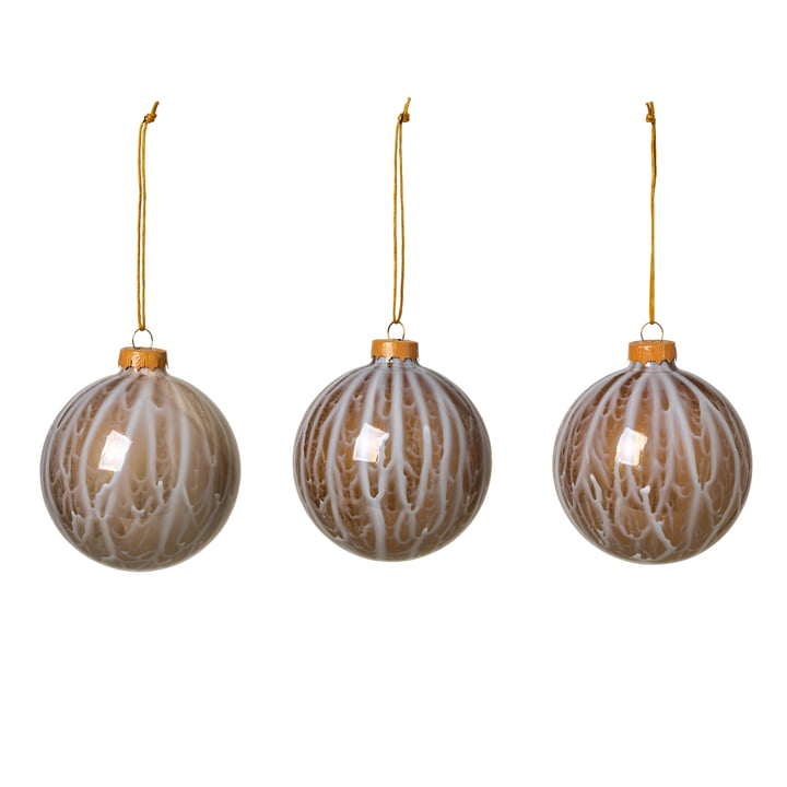 Marble Christmas tree balls, simply taupe (set of 3) from Broste Copenhagen