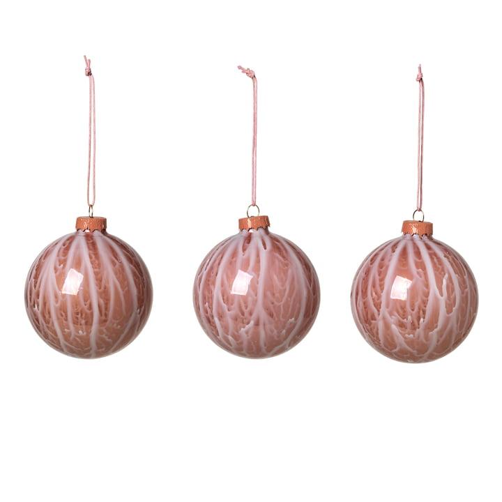 Marble Christmas tree balls, rose dawn (set of 3) by Broste Copenhagen