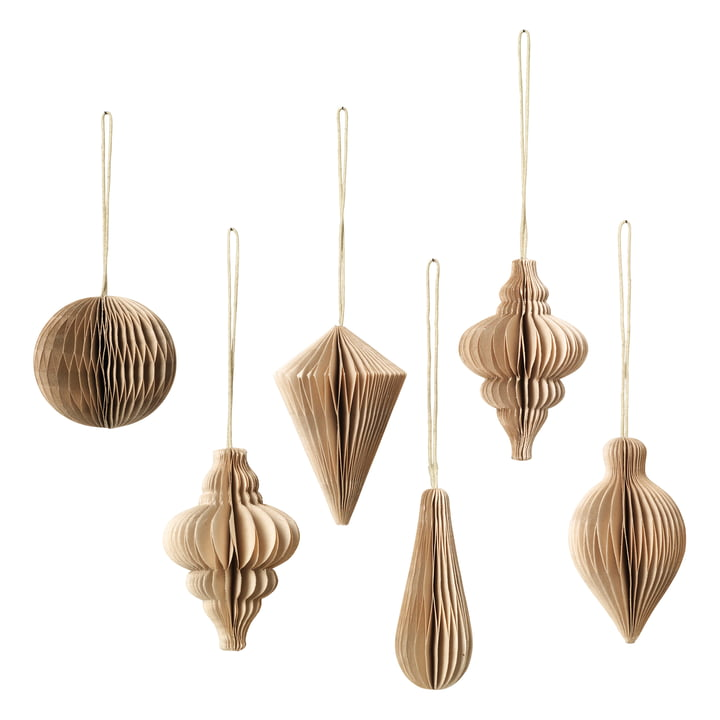 Christmas Mix decorative pendant, Ø 5 x H 7 cm, natural brown (set of 6) by Broste Copenhagen
