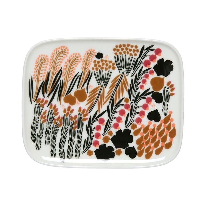 Letto serving plate 15 x 12 cm, white / green / black by Marimekko
