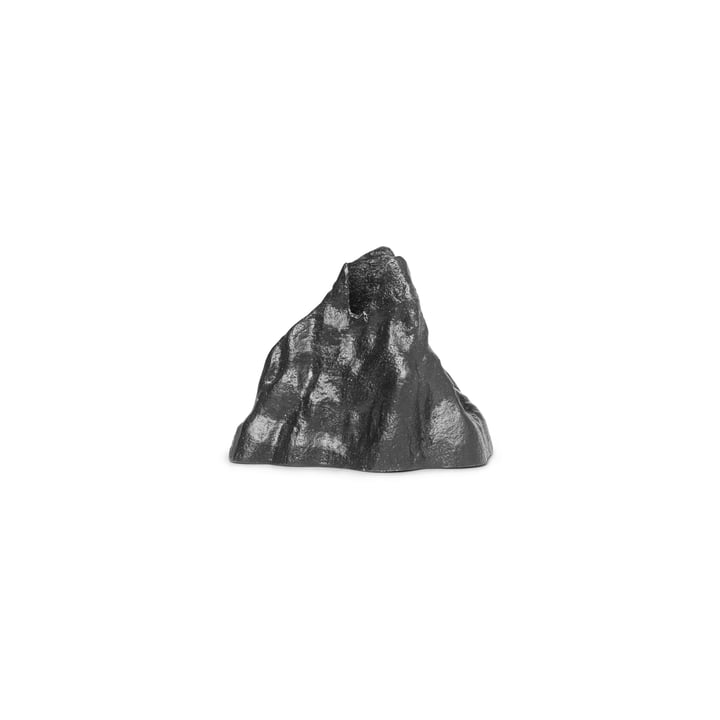 Stone candle holder small, aluminum black by ferm Living