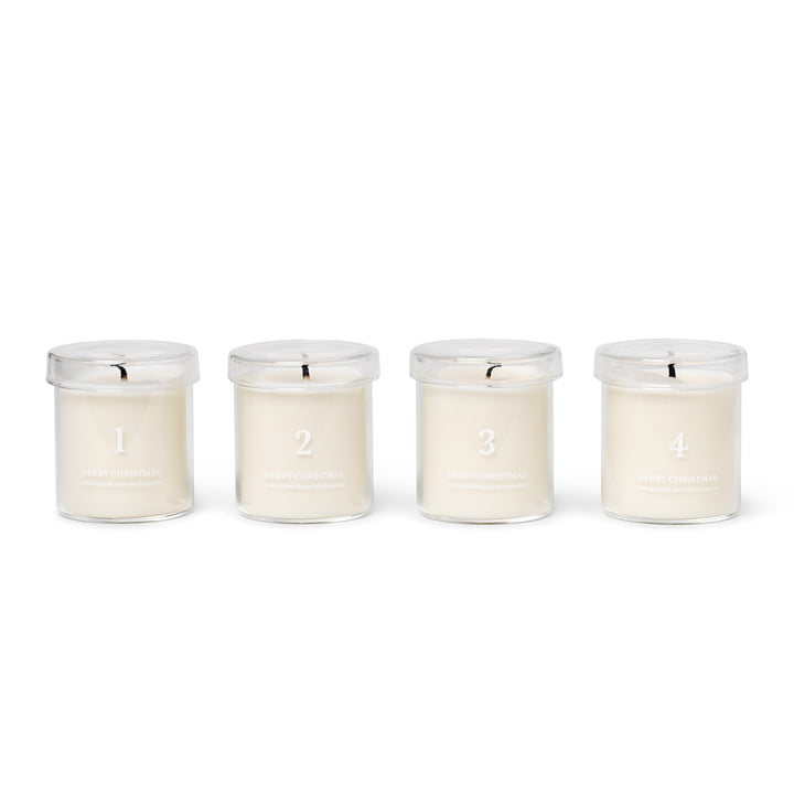 Scented advent candles, white (set of 4) from ferm Living