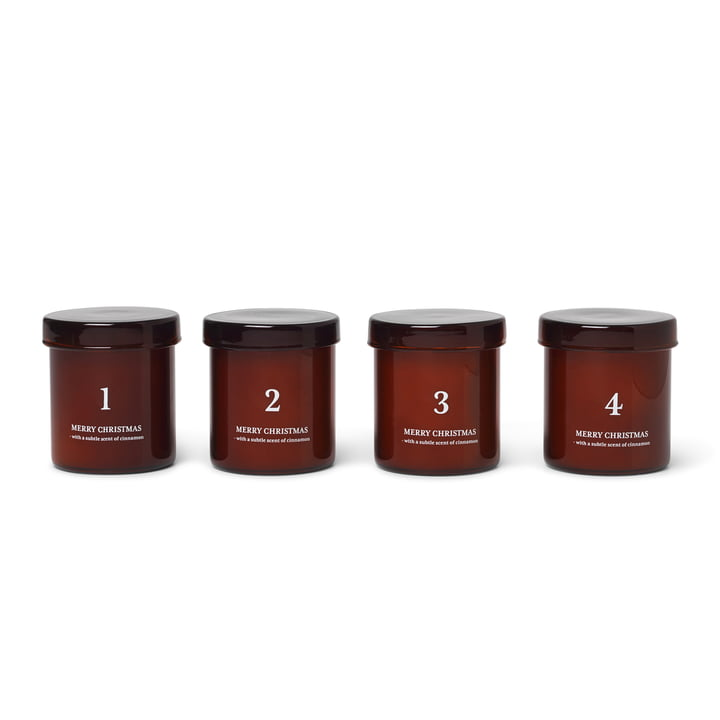 Scented advent candles, red-brown (set of 4) from ferm Living