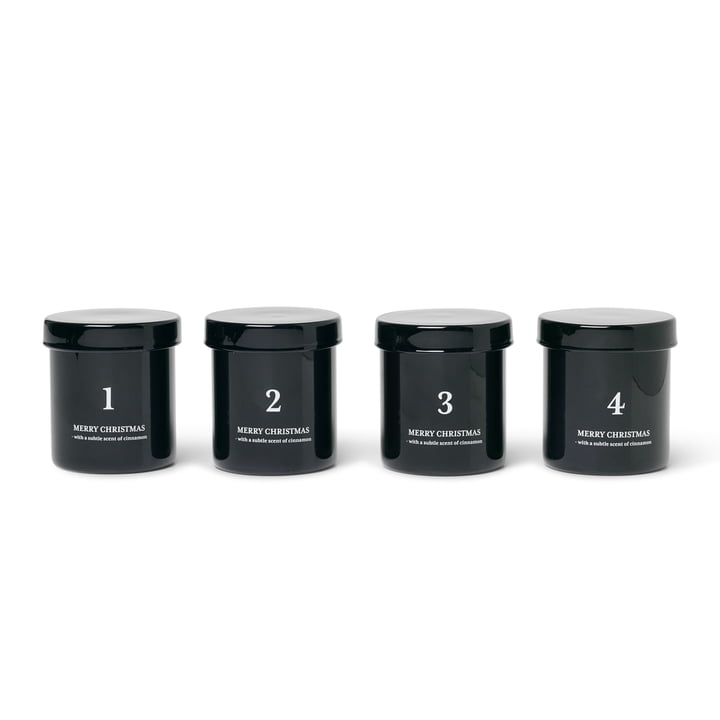 Scented advent candles, black (set of 4) from ferm Living