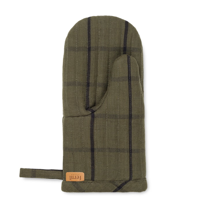 Hale oven glove, green / black from ferm Living